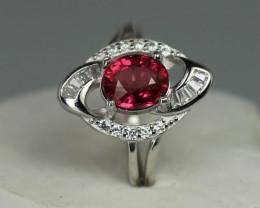 Natural pinkTourmaline 1.79 cts 925 Sterling white Rhodium  silver ring