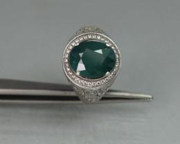 Natural Grandidierite 5.95 white Rhodium 925 Sterling silver ring
