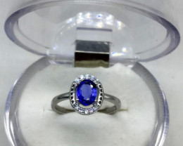 Tanzanite 1.05 Crts Silver Ring Rhodium Coated