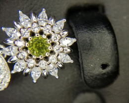 Natural Peridot Silver Pendant With Cubic Zircon