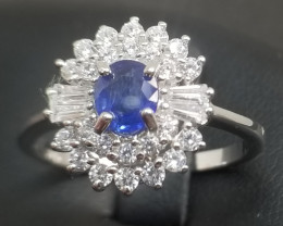 Natural Heated Sapphire Silver Ring With Cubic Zircon
