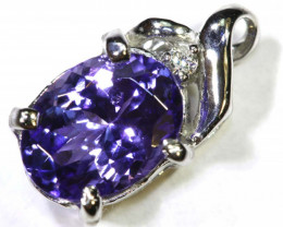 6.2 CTS TANZANITE 18K WHITE GOLD PENDANT SG-2380