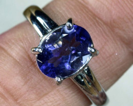 13.4 CTS TANZANITE 18K WHITE GOLD RING SG-2385
