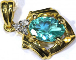 7 CTS APATITE GEMSTONE PENDANT 18K YELLOW GOLD SG-2390