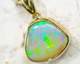 Solid Fire Opal set in  18k Gold pendant  SCO1999