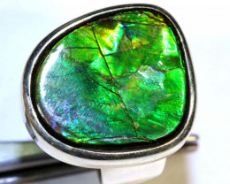 47.35 CTS RING SIZE 7 BRIGHT AMMOLITE SILVER RING SG-2419