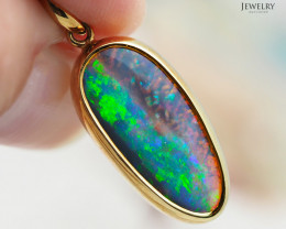 Solid Fire Opal set in  18k Gold pendant   CK99