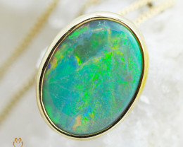 Solid Fire Opal set in  18k Gold pendant   CK1801