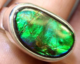 56.75 CTS RING SIZE 8 BRIGHT AMMOLITE SILVER RING SG-2421