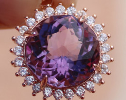 Amethyst 12.10ct, Solid 925 Sterling Silver, Rose Gold Finish Pendant, Natu