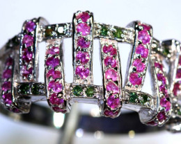 24.85 CTS PINK & GREEN QUARTZ SILVER RING SG-2438