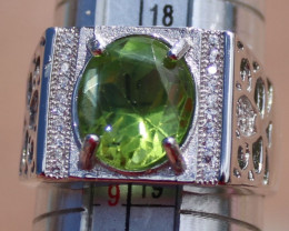 Peridot 4.08ct, Solid 925 Sterling Silver White Gold Finish Ring,Natural, O