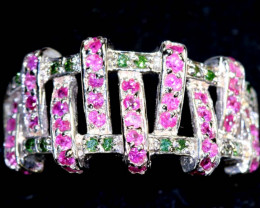 25.35 CTS PINK & GREEN QUARTZ SILVER RING SG-2443