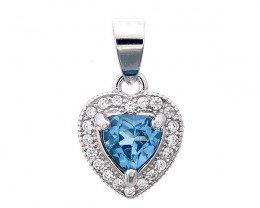 Natural Topaz Silver Pendant With Cubic Zircon