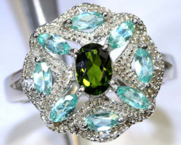 34.2 CTS APATITE AND CHROME DIOPSIDE SILVER RING SG-2484