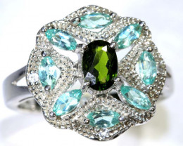 33.70 CTS APATITE AND CHROME DIOPSIDE SILVER RING SG-2488