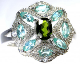 33.20 CTS APATITE AND CHROME DIOPSIDE SILVER RING SG-2495