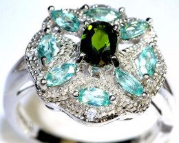 31.30 CTS APATITE AND CHROME DIOPSIDE SILVER RING SG-2497