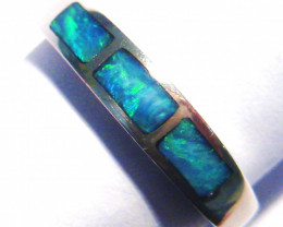 Stunning Australian Inlayed Opal and Sterling Silver Ring  Size M or 6