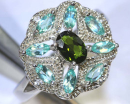 34.8 CTS APATITE AND CHROME DIOPSIDE SILVER RING SG-2500