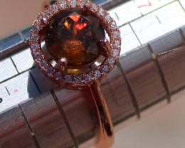 Sphene 2.00ct, Solid 925 Sterling Silver, Rose Gold Finish Ring, Natural, V