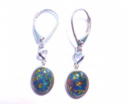 Beautiful Australian Gem Opal and Sterling Silver Earrings (3314)