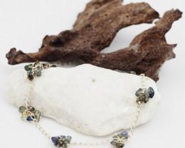 Rough Australian  natural Sapphire chip sterling silver Bracelet Am1122