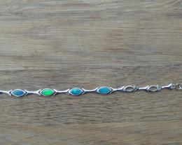 Stunning Australian Doublet Opal and Sterling Silver Bracelet
