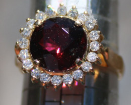Red Tourmaline 3.65ct Diamonds 18K Solid Yellow Gold Cocktail Ring,Certifie
