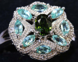 32.40 CTS APATITE AND CHROME DIOPSIDE SILVER RING SG-2501