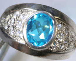 39 CTS TOPAZ AND QUARTZ SILVER RING SG-2507