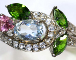 24 CTS TOPAZ QUARTZ AND DIOPSIDE SILVER RING SG-2519
