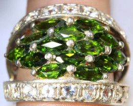 48 CTS DIOPSIDE AND QUARTZ SILVER RING SG-2523