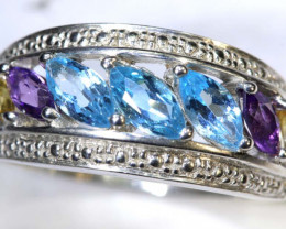 20 CTS TOPAZ AMETHYST AND CITRINE SILVER RING SG-2524