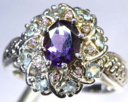 24CTS AMETHYST TOPAZ AND QUARTZ SILVER RING SG-2548