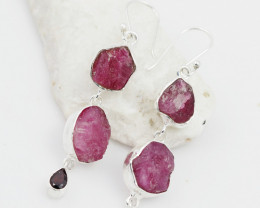 Rough Ruby n Garnet set earrings and  silver Pendant AM 1139