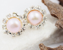 Fresh Water Champagne  Pearl earring  AM 1149
