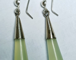 Natural color Jade Earring Pair with  Sliver 31.10Cts-Afghanistan
