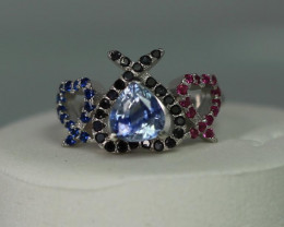 blue sapphire 1.35 cts  white Rhodium 925 Sterling silver ring