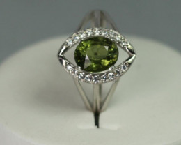 tourmaline 1.57 cts  white Rhodium 925 Sterling silver ring
