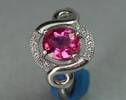 Pink  Rubellite  Tourmaline  1.44 cts  white Rhodium 925 Sterling silver ri