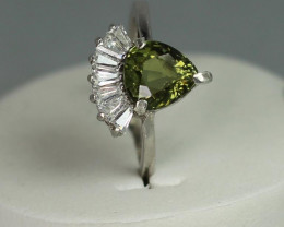 Natural Tourmaline 1.90 cts white Rhodium 925 Sterling silver ring