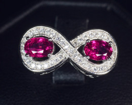 Natural Rubellites With Cubic Zircon Silver Ring