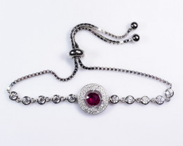 Natural Rubellite Silver Pendant With Cubic Zircon