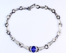 Natural Heated Sapphire Silver Bracelet With Cubic Zircon