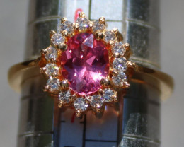 Pink Mahenge Spinel 1.01ct Diamonds 22K Solid Yellow Gold Cocktail Ring,Cer