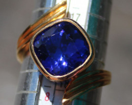 Tanzanite 7.28ct Solid 22K Yellow Gold Ring,Certified,Appraised,Brand New