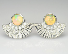 Natural Opal Silver Earrings With Cubic Zircons