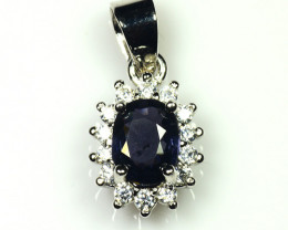 Natural Heated Sapphire Silver Pendant With Cubic Zircon