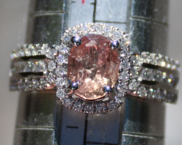 Padparadscha Sapphire 1.86ct Diamonds Solid 14K White Gold Ring,Natural,Unh